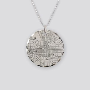 Vintage Map of Syracuse New Necklace Circle Charm