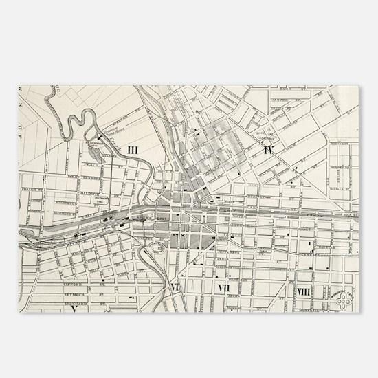 Vintage Map of Syracuse N Postcards (Package of 8)