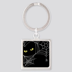 Spooky Cat Square Keychain