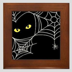 Spooky Cat Framed Tile