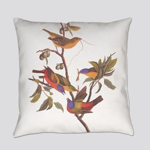 Painted Bunting Birds Vintage Art Everyday Pillow