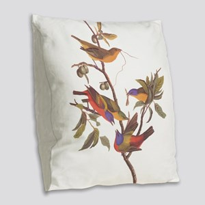 Painted Bunting Birds Vintage Burlap Throw Pillow
