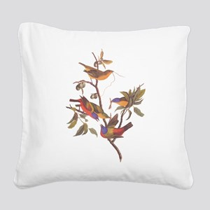 Painted Bunting Birds Vintage Square Canvas Pillow