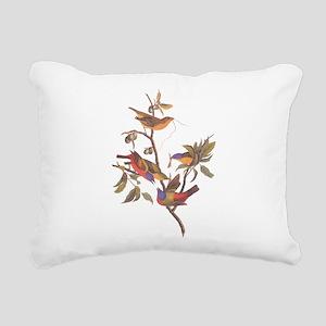 Painted Bunting Birds Vi Rectangular Canvas Pillow