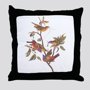Painted Bunting Birds Vintage Art by Throw Pillow