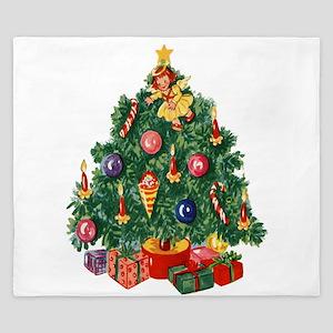 vintage retro Christmas Tree King Duvet