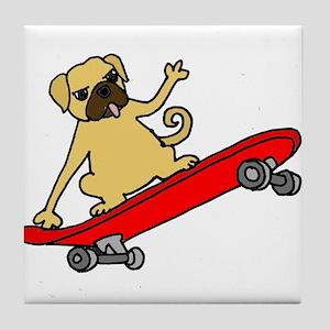 Funny Pug Skateboarding Tile Coaster