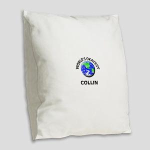 World's Okayest Collin Burlap Throw Pillow