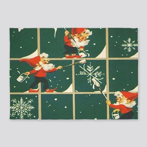 Christmas snowflakes retro elves 5'x7'Area Rug