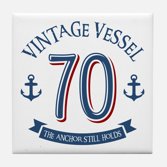 Nautical 70th Birthday Tile Coaster