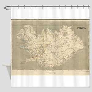 Vintage Map of Iceland (1819) Shower Curtain