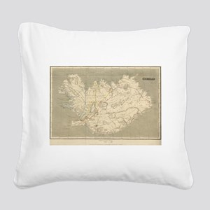 Vintage Map of Iceland (1819) Square Canvas Pillow