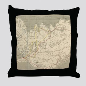 Vintage Map of Iceland (1819) Throw Pillow