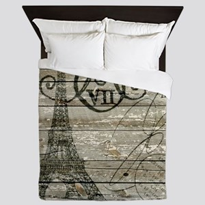 vintage paris eiffel tower Queen Duvet
