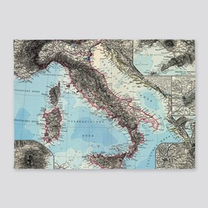 Vintage Map of Italy (1891) 5'x7'Area Rug