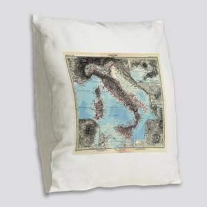 Vintage Map of Italy (1891) Burlap Throw Pillow