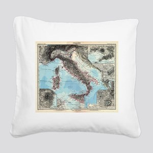 Vintage Map of Italy (1891) Square Canvas Pillow