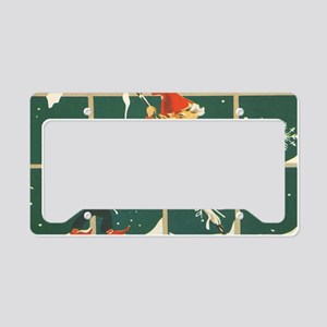 Christmas snowflakes retro el License Plate Holder