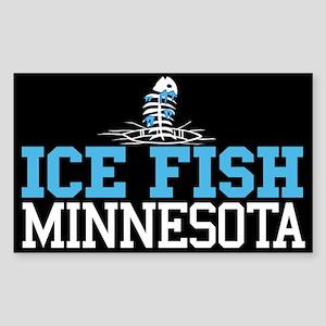 Ice Fish Minnesota Rectangle Sticker