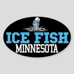 Ice Fish Minnesota Oval Sticker