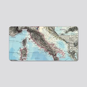 Vintage Map of Italy (1891) Aluminum License Plate