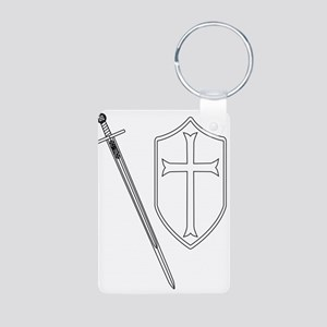 Crusaders Sword and Shield Outline Keychains