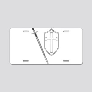Crusaders Sword and Shield Aluminum License Plate