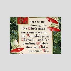 pine wreath christmas friendship 5'x7'Area Rug