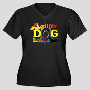 Dachshund Ag Women's Plus Size V-Neck Dark T-Shirt