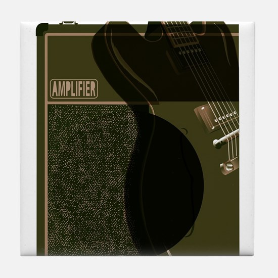 Guitar And Amplifier Abstract Tile Coaster