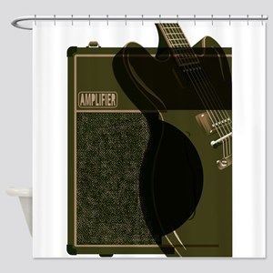 Guitar And Amplifier Abstract Shower Curtain