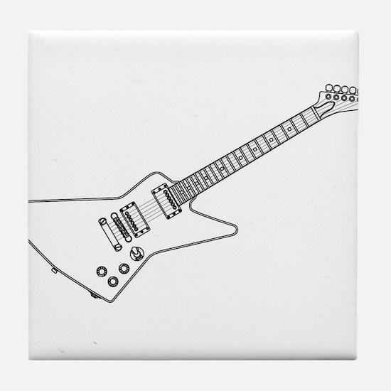 Modern Electric Guitar Outline Tile Coaster