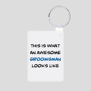 awesome groomsman Aluminum Photo Keychain