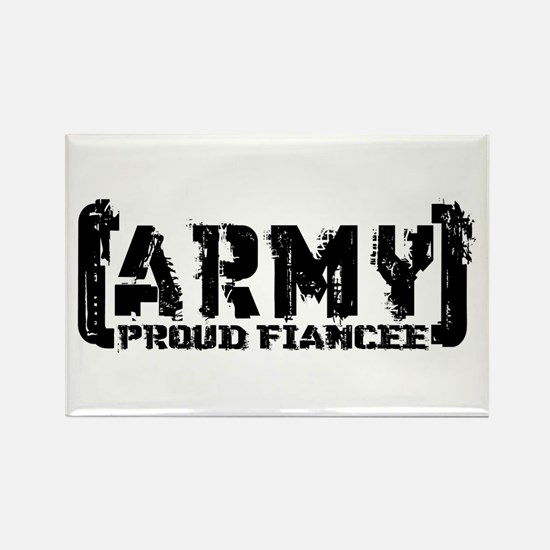 Proud Army Fiancee - Tatterd Style Rectangle Magne