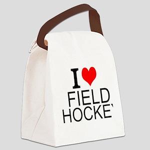 I Love Field Hockey Canvas Lunch Bag