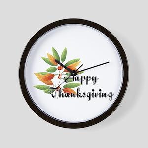 Fall Leaves - Happy Thanksgiv Wall Clock