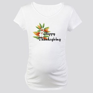 Fall Leaves - Happy Thanksgiv Maternity T-Shirt