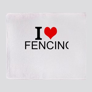 I Love Fencing Throw Blanket