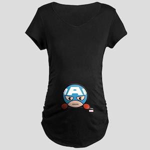 Captain America Peeking Maternity Dark T-Shirt