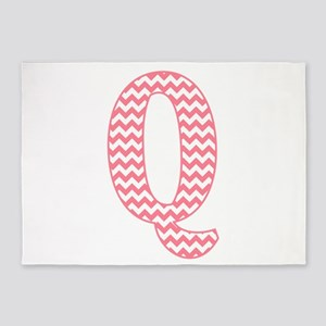 Pink Chevron Letter Q Monogram 5'x7'Area Rug
