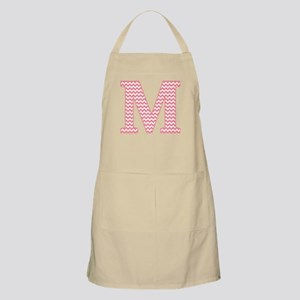 Pink Chevron Letter M Monogram Apron