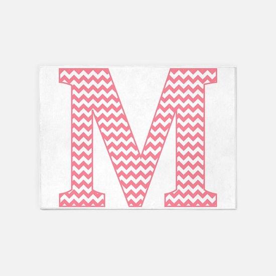 Pink Chevron Letter M Monogram 5'x7'Area Rug