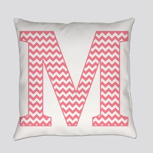 Pink Chevron Letter M Monogram Everyday Pillow