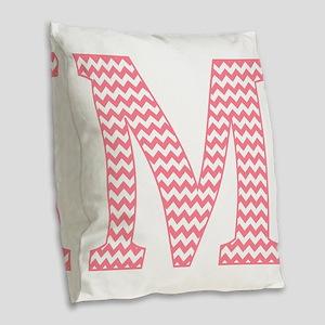 Pink Chevron Letter M Monogram Burlap Throw Pillow