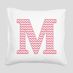 Pink Chevron Letter M Monogra Square Canvas Pillow