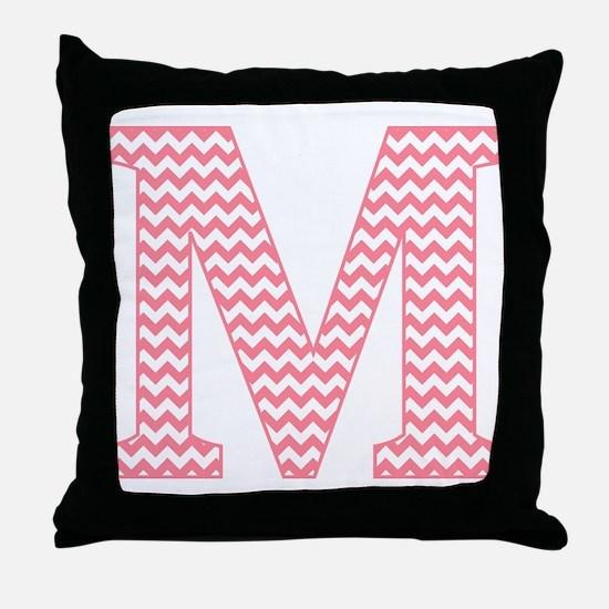 Pink Chevron Letter M Monogram Throw Pillow