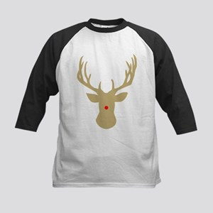 Gold Christmas reindeer with a red Baseball Jersey