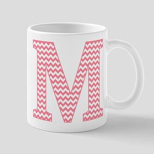 Pink Chevron Letter M Monogram Mugs