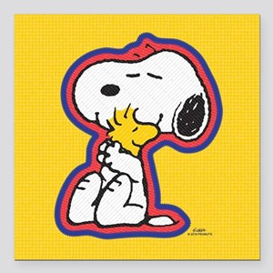 """Peanuts Flair Snoopy Square Car Magnet 3"""" x 3"""""""