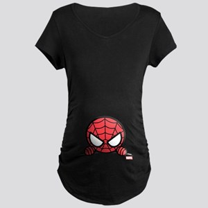 Spider-Man Peeking Maternity Dark T-Shirt